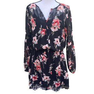 WHBM  Floral Sheer Dress W/ Lace Long Sleeve